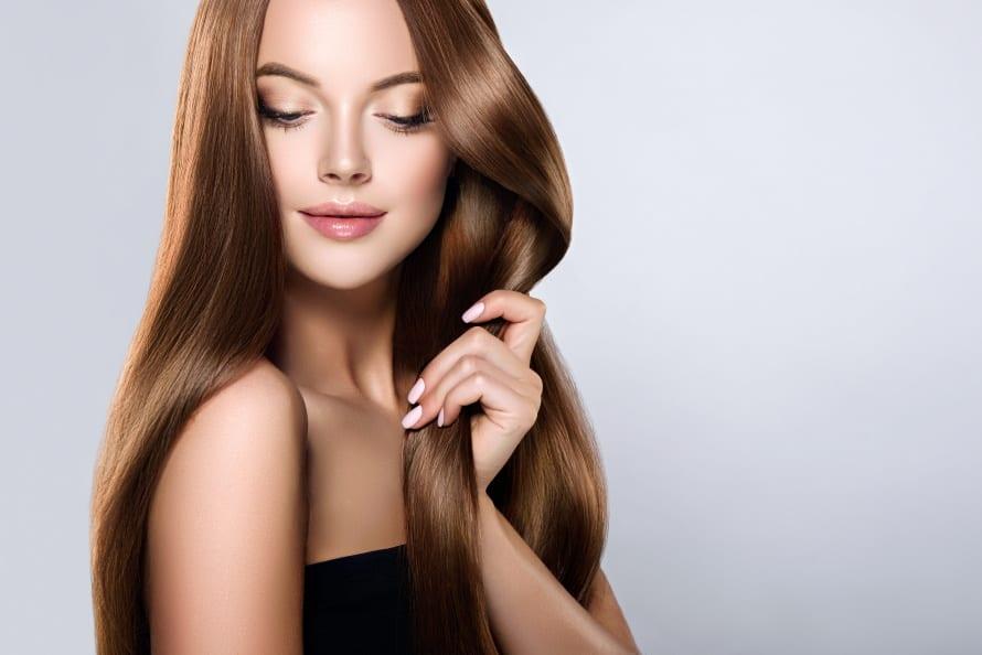 Keratin Glättung glatte Haare