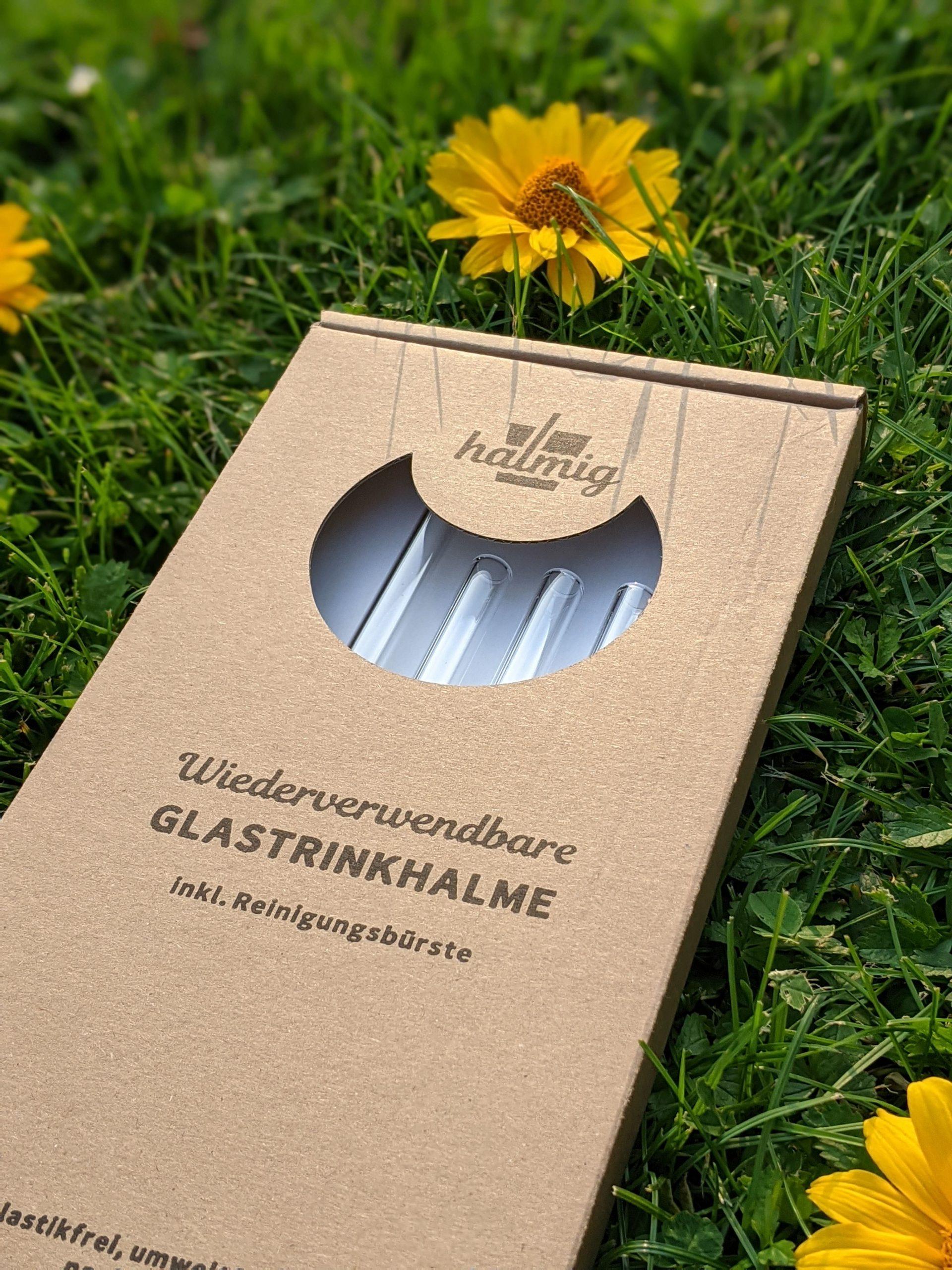 HALMIG Glasstrohhalme 20cm, 4er-Pack